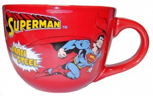 superman soup mug red